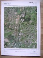GRAND PHOTO VUE AERIENNE  66 Cm X 48 Cm De 1979 CHARLEROI ROUX - Mapas Topográficas