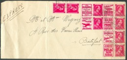 PUBS N°145-150-154-160-165-166 + N°528 (paire) Obl. Télégraphique BRUXELLES BOURSE T *T Sur Lettre Exprès Du 1-3-1952 Ve - Advertising