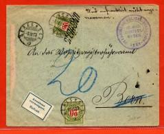 SUISSE LETTRE TAXEE DE 1903 DE BERNE POUR GERZENSEE - Taxe