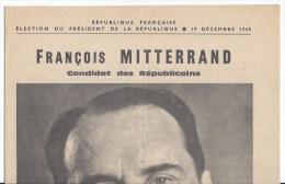 Candidature élection Présidentielle F Mitterrand 1965 - Non Classés