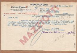 CARLOS FRANÇA - Quinta Mazziotti / COLARES / SINTRA. 1920s Carta Papel Timbrado PORTUGAL - Portugal