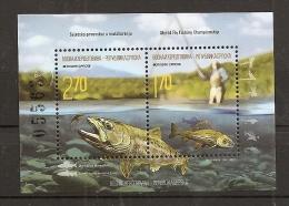 BOSNIA AND HERZEGOVINA  2015,SERBIA BOSNIA,FAUNA,FLY FISHING,,THYMALUS,SALMO,,RIVER.BLOCK,MNH - Bosnia And Herzegovina