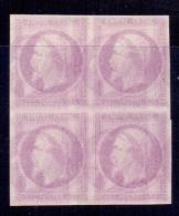 FRANCE N° 15 (X) BLOC DE 4 ESSAI DE COULEUR DOUBLE IMPRESSION FEUILLE DE PASSE SUP - 1853-1860 Napoleon III