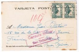TARJETA  CENSURA MILITAR SAN SEBASTIAN 1937  PARA BIARRITZ - Marcas De Censura Nacional