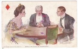 Artist Image Romance Couple Plays Bridge 'Shall We Play To Diamonds' Marriage, C1900s Vintage Postcard - Playing Cards