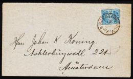 1884. Coat-of Arms. Large Corner Figures. 20 Øre Blue. Perf. 14x13½ KJØBENHAVN V 9 2 Na... (Michel: 36YA) - JF192719 - 1864-04 (Christian IX)