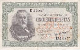 BILLETE DE ESPAÑA DE 50 PTAS DEL 9/01/1940 SERIE D CALIDAD  BC++ (BANKNOTE) - [ 3] 1936-1975 : Régence De Franco