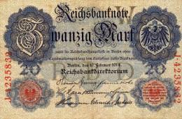 Reichsbanknote - Zwanzig Mark - 20 - W - J. 4235832 - [ 2] 1871-1918 : Empire Allemand