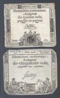 2 X ASSIGNAT Domaines Nationaux 15 Sols Buttin Série 152 1792 + 50 Sols Faussay Série 2426 1793 - Assignats & Mandats Territoriaux