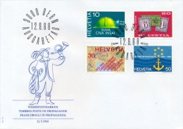 Switzerland 1968 FDC Accident Insurance Company - 125th Swiss Postage Stamps - Territorial Planning - Rhine Navigation - FDC