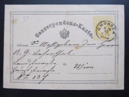 GANZSACHE Korrespondenzkarte GMUNDEN - Wien 1875 // D*18877 - Briefe U. Dokumente