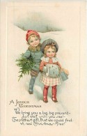 234563-Christmas, Winsch No 44-1, Boy With Christmas Tree And Girl With Hand Muff And Presents - Other