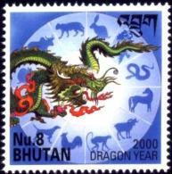 BHUTAN-YEAR OF DRAGON-2000-MILLENNIUM-8Nu-MNH-B3-473 - Bhutan