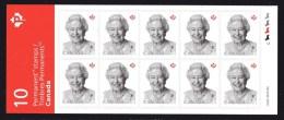 CANADA 2016  NEW,  Queen Elizabeth 11, Booklet Of 10   Mnh