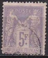 France 1877-80 Paix Et Commerce Dite Type Sage Papier Teinté Type II 5 Fr Violet Sur Lilas Y & T  Nr. 95 - 1876-1898 Sage (Type II)