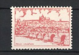 Vignette Publicitaire Praha - Prag, Hradcany, Blick über Die Moldau Zur Burg - Cinderellas