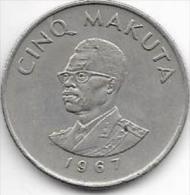CONGO - (Rép Démocratique) - 5 MAKUTA- 1967 - - Congo (Rép. Démocratique, 1964-70)