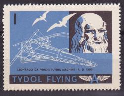 """TYDOL FLYING """"A"""" POSTER STAMPS OF 1940  MNH** Leonardo Da Vinci Flying Machine 1500 A.D. - Aviones"""