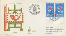 ITALIA - FDC VENETIA 1963  - GIORNATA DEL FRANCOBOLLO - VIAGGIATA PER VENEZIA - 6. 1946-.. Repubblica