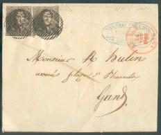 N°1(2) - Epaulettes 10 Centimes Brunes (paire) Obl. P.23 Sur Lettre De BRUGES Le 24 Novembre 1850 Vers Gand - 10937 - 1849 Epaulettes