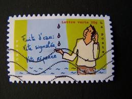 OBLITERE ANNEE 2014 N°968 FUITE D´EAU VITE SIGNALEE VITE REPAREE DU CARNET ENVIRONNEMENT AUTOCOLLANT ADHESIF - France