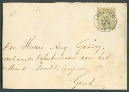 N°47 - 20 Centimes Olive Obl. Sc LOKEREN Sur Enveloppe Du 19 Août 1886 Vers Gand - 10938 - 1884-1891 Léopold II