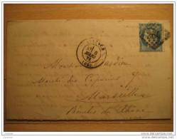 1872 AVIGNON A Marseille 260 Cancel 25c Timbre Sello Stamp Sobre Cover Lettre France - 1871-1875 Cérès