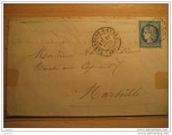 1873 TARASCON S RHONE A Marseille 25c Timbre Sello Stamp Sobre Cover Lettre France - 1871-1875 Cérès