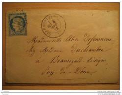 1873 CLERMONT FERRAN To Vertaizon Puy De Dome Puy-de-Dôme 25c Timbre Sello Stamp Sobre Cover Lettre France - 1871-1875 Ceres