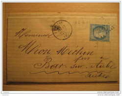 1873 PINEY AUBE To Bar Sur Aube Bar-sur-Aube 25c Timbre Sello Stamp Sobre Cover Lettre France - 1871-1875 Ceres