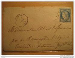 1876 SAUGUES To Canton De Vertaizon Puy-de-Dome Puy De Dome 8345 Cancel 25c Timbre Sobre Cover Lettre France - 1871-1875 Cérès