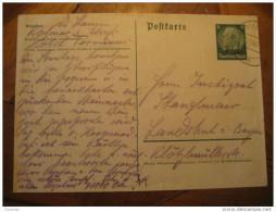 KOLMAR 1940 To Landschuk Germany Occupation Elsass Alsace Hindenburg Stamp On Hindenburg Postal Stationery Card France - Alsace-Lorraine