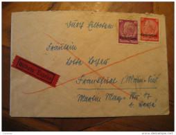 MATS ? 1940 To Frankfurt Germany Occupation Lothringen Lorraine 2 Hindenburg Stamp On Cover France - Alsace-Lorraine
