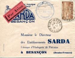 étiquette Rouge Et Noir Par Avion,Maroc Poste Aérienne Sur Lettre Càd 7-3-1935 De Beni-Mellal - Poste Aérienne