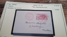 LOT 296008 TIMBRE DE FRANCE OBLITERE N�231 SUR LETTRE  BLOC