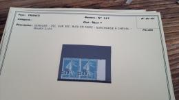 LOT 296010 TIMBRE DE FRANCE NEUF* N�217 VARIETE SURCHARGE A CHEVAL VALEUR 42 EUROS BLOC