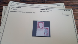 LOT 296064 TIMBRE DE FRANCE NEUF** N�1263G VARIETE GRIS OMIS SIGNE CALVES VALEUR 200 EUROS BLOC