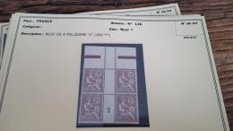 LOT 296065 TIMBRE DE FRANCE NEUF* N�126 DOUBLE MILLESIME VALEUR 1025 EUROS  BLOC