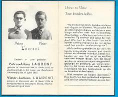 Bidprentje Van (oorlogslachtoffers) Petrus-A. En Victor-L. Laurent - Mazenzele - Mauthausen/Giesen - + 1945 - Devotion Images