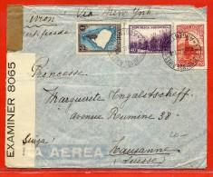 ARGENTINE LETTRE RECOMMANDEE CENSUREE DE 1942 DE BUENOS AIRES POUR LAUSANNE SUISSE - Argentina