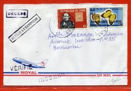 ZAIRE TIMBRE PAPILLON SURCHARGE RENVERSEE SUR LETTRE DE 1985 DE MUTWANGA - Autres