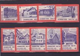 RUSSIA --- MATCHBOX LABELS -- 9x  ARHITECTURE -- 1970 - Matchbox Labels