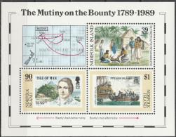 """NORFOLK INSELN Block 12(459-61) """"200.Jahrestag Der Meuterei Auf Der Bounty"""" MNH / ** / Postfrisch - Norfolkinsel"""