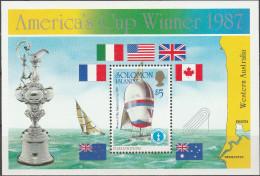 """SALOMON INSELN Block 22(632) """"Gewinn Des Americas Cup Durch Die USA"""" MNH / ** / Postfrisch - Salomoninseln (Salomonen 1978-...)"""