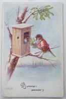 litho chromo illustrateur BKWI 3024 OHLER couple oiseau humanisé dans nichoir gu