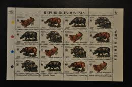 INDONESIA MNH ** 1996 ZBL 1723-26 SHEET WWF NEUSHOORN RHINOCEROS - Indonésie