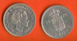 DENMARK 1973-89 1 Kroner Copper-nickel Cat.nr 862  #302 - Denmark