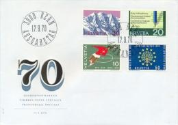 Switzerland 1970 FDC Piz Palu - Federal Census - Swiss Football Association - Nature Conservation Year - FDC