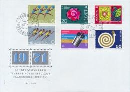 Switzerland 1971 FDC Sport - Child Welfare Organisation - NABA Exhibition - Development Aid - Space Communications - FDC