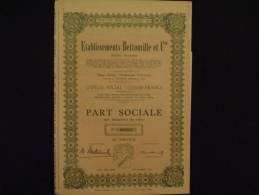 Etablissements  Bettonville Hodimont Verviers (Liège)Textile  Part Sociale.  1951. - Textiel